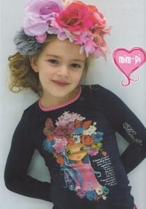 Mim-Pi Langarm-Shirt/Longsleeve Blumen-Mädchen-Print navy