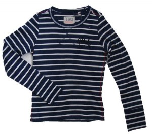 PETROL Langarm-Shirt/Longsleeve Streifen blau-weiß