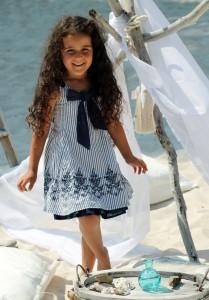 Pezzo D´oro Kleid Streifen indigo blue-weiss
