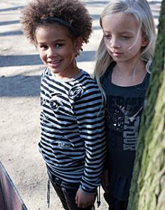 RETOUR Jeans Langarm-Shirt / Longsleeve Tiarra Streifen schwarz-grau