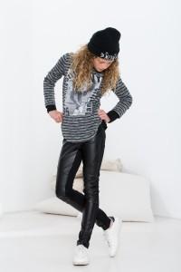 Geisha Langarm-Shirt/Longsleeve Streifen grey melange/black