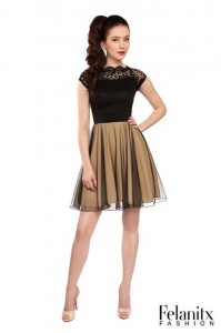 FELANITX festives Kleid Konfirmation Tüll schwarz gold