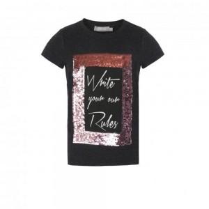 Geisha T-Shirt Wendepailletten antrazit melange