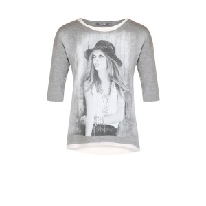Geisha 3/4-Arm-Shirt Mädchen-Print grau melange-weiß