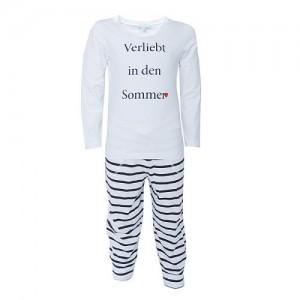 """Pyjama Kinder """"Verliebt in den Sommer"""", weiß/blau"""