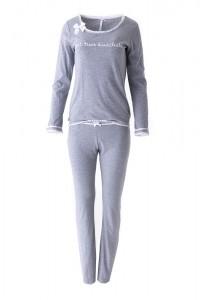 """Louis & Louisa Damen Schlafanzug/Pyjama Rippe """"Zeit zum Kuscheln"""" grau"""