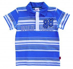 Whoopi Polo-Shirt blau-weiss-gelb gestreift