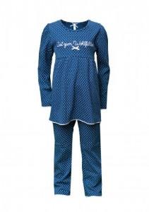 Louis & Louisa Mädchen Schlafanzug/Pyjama ZEIT ZUM WOHLFÜHLEN blau Punkte weiß