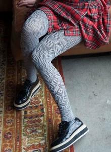 Bonnie Doon Damen-Strumpfhose OP ARTS schwarz-offwhite