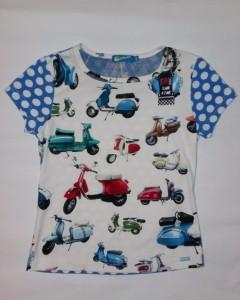 Carbone T-Shirt Scooter weiss-blau