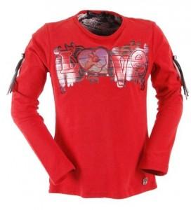 Carbone Langarm-Shirt/Longsleeve Love-Print rot