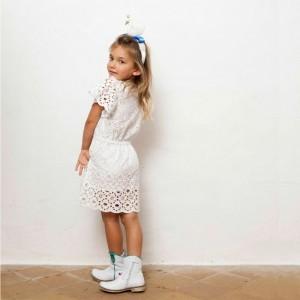 Mim-Pi Spitzen-Kleid weiß
