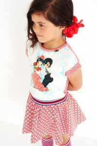 Mim-Pi Kurzarm-Kleid Flamenco-Tänzer rot-weiß