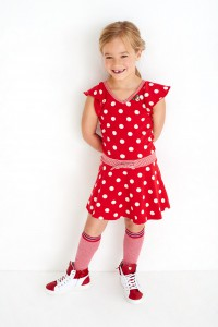 Mim-Pi Kurzarm-Kleid Punkte rot-weiß