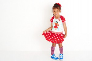 Mim-Pi Kurzarm-Kleid Flamenco-Tänzerin Punkte rot-weiß