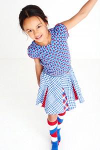 Mim-Pi Kurzarm-Kleid Retro rot-weiß-blau
