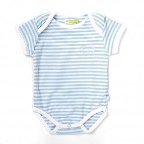 Ducky Beau Halbarm Body Streifen hellblau-weiß