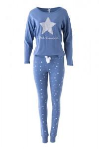 """Louis & Louisa Damen Schlafanzug/Pyjama Oversize """"Einfach Himmlisch"""" Stern blau/blau allover"""
