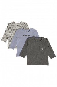 Hust & Claire Basic Langarm-Shirt Sterne offwhite grau