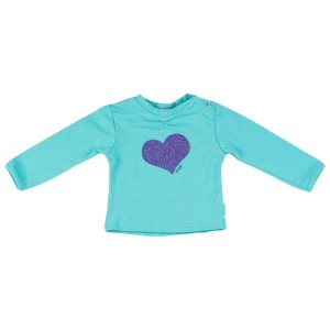Kiezel-tje Mini Langarm-Shirt/Longsleeve Herz aqua