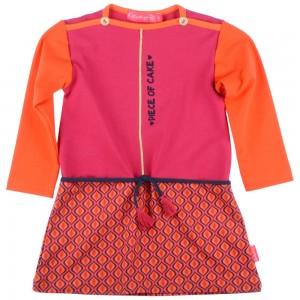 Kiezel-tje Mini Langarm-Kleid Muster-Print fuchsia