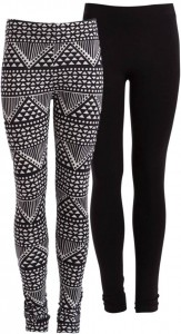 little PIECES Legging 2er Pack black