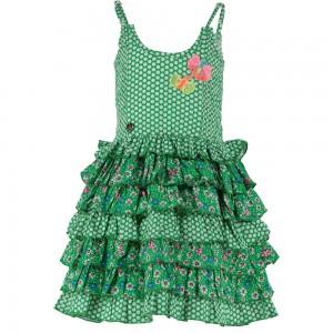 Mim-Pi Träger-Kleid Mustermix grün