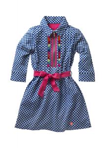 Mim-Pi Blusen-Kleid karriert blau-weiss