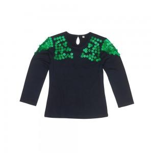 Mim-Pi Langarm-Shirt/Longsleeve navy Pailletten/Strasssteine grün