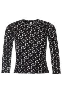 Mim-Pi Langarm-Shirt/Longsleeve Flower schwarz weiß