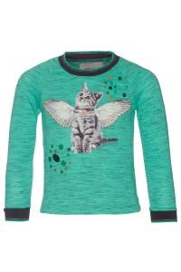 Mim-Pi Langarm-Shirt/Longsleeve Katze grün meliert