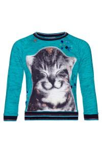 Mim-Pi Pullover/Sweater Katze türkis meliert