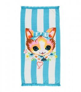 Mim-Pi Badehandtuch/Strandhandtuch Katzenkopf blau weiß