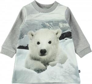 Molo Mini Mädchen Langarm-Sweat-Kleid COREY Baby Polar Bear