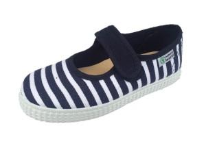 NATURAL WORLD Mädchen Schuhe Streifen marine-weiss