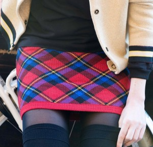 Bonnie Doon Damen Strick Rock PLAID CHECKS rot
