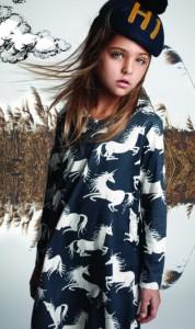 Paper Wings Kleid EINHORN blau