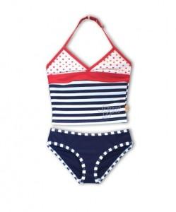 Pezzo D´oro Tankini/Bikini weiß/blau gestreift mit Herzen