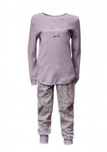 Louis & Louisa Mädchen Schlafanzug/Pyjama SCHMUSEKATZE taupe