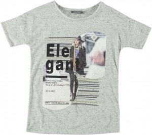 Geisha T-Shirt Print grey melange