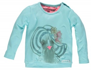 Moodstreet Mini Girls Langarm-Shirt/Longsleeve Vogelkopf mit Hut shiny blue
