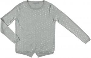 Geisha Feinstrick-Pullover Sterne grey melange