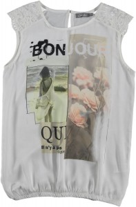 Geisha Blusen-Shirt Print weiß