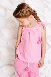 Mim-Pi Top/Shirt Crinkel-Optik rosa