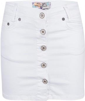 Blue Effect Mädchen Jeans Rock Knopfleiste vorne schneeweiß