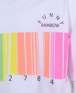 Blue Effect Mädchen Boxy-T-Shirt Neon Barcode schneeweiß
