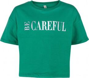 Blue Effect Mädchen Boxy T-Shirt BE CAREFUL wiesengrün