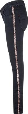 Blue Effect Mädchen Ultrastretch Jeans black seitl. Leo-Streifen NORMAL 134